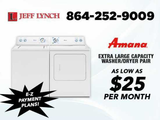 Make easy payments!! NEW Amana Washer & Dryer