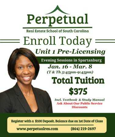Real Estate Evening Classes in Spartanburg, SC